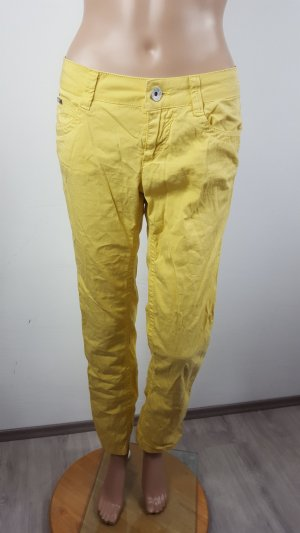 Gas Pantalon boyfriend jaune fluo coton
