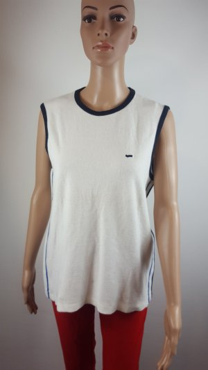 Gas Muscle Shirt white-dark blue cotton