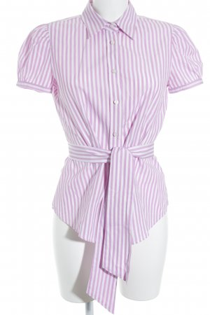Gas Short Sleeve Shirt pink-white striped pattern Plastic elements