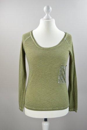 GAS Shirt langärmlig mit Strasssteinen grün Größe S