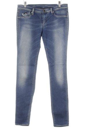 Gas Skinny Jeans stahlblau-blau Bleached-Optik