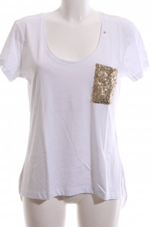 Gas T-Shirt weiß-goldfarben Casual-Look