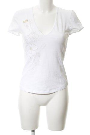 Gas T-Shirt weiß-goldfarben Blumenmuster Casual-Look