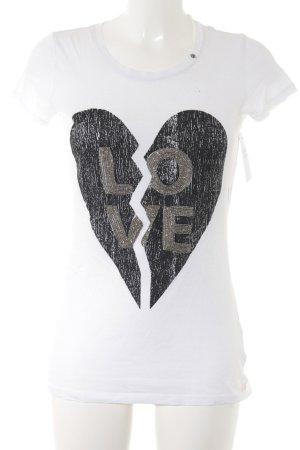 Gas T-Shirt wollweiß-schwarz Motivdruck Casual-Look