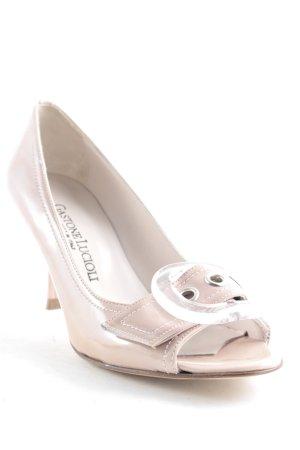 Gastone Lucioli Peeptoe Pumps rosé-silberfarben Elegant