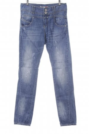 Gaudi Boyfriendjeans blau-weiß Jeans-Optik