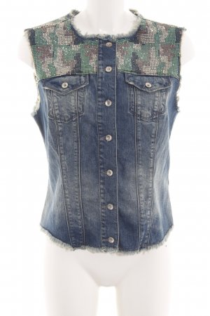 Gaudi Denim Vest blue-khaki camouflage pattern casual look
