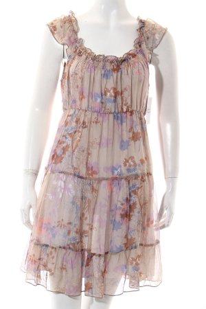 Gaudi Kleid hellbraun-helllila florales Muster klassischer Stil