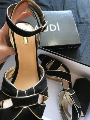 Gaudi Strapped High-Heeled Sandals black-gold-colored