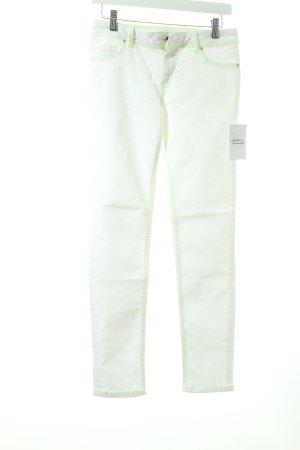 Gaudi Stretch Jeans weiß-neongelb extravaganter Stil