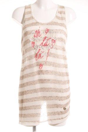 Gaudi Tanktop creme-hellbraun Schriftzug gedruckt Materialmix-Look