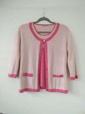 GCfontana Gebreide twin set lichtroze-roze