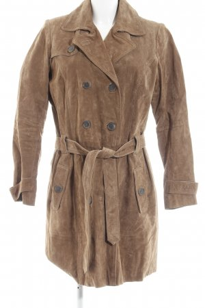 GDM Leather Coat brown casual look