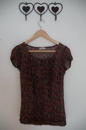 geblümte T-Shirt Bluse