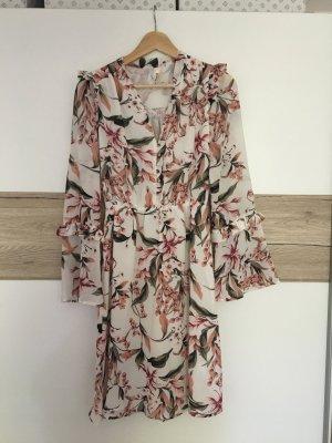 Elli White Robe chiffon rosé-vert clair
