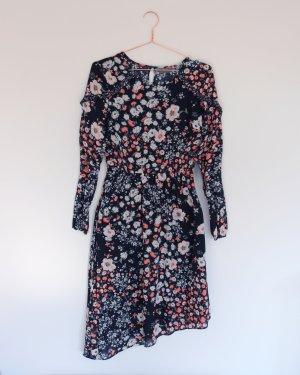 Geblümtes Kleid mit asymmetrischem Saum Neu 36