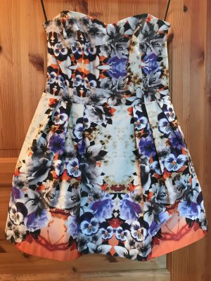Asos Bandeau Dress dark violet-natural white cotton