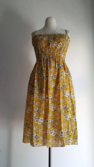 Vestido playero amarillo oscuro-blanco Poliéster