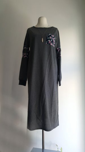 Vestido de tela de sudadera gris oscuro-magenta Poliéster