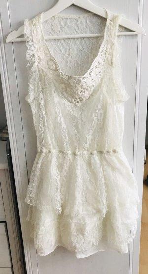 Zara Vestido de encaje blanco puro