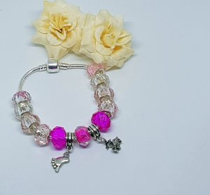 Charm Bracelet pink-light grey metal
