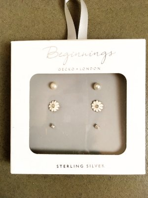 Ear stud white-silver-colored metal