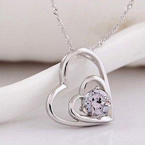 gedrehte Kette aus 925er Sterling Silber mit Herz und Zirkonia