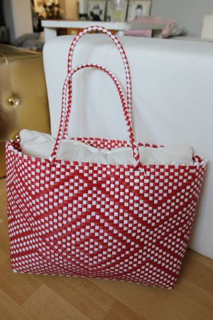 Basket Bag white-neon red synthetic material