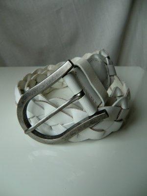 geflochtener Gürtel aus echtem Leder weiß mit länglicher Metallschließe
