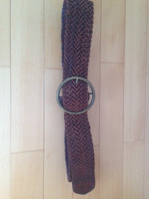 Braided Belt brown-russet leather