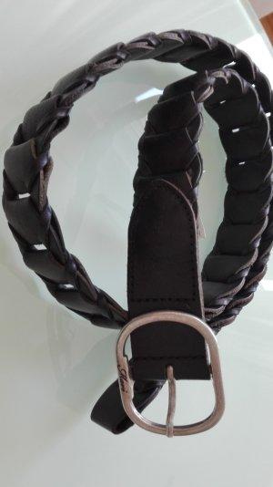 Geflochtener schwarzer Ledergürtel, neu