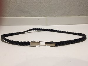 Braided Belt black-light grey leather