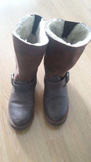 Gefütterte Biker Boots Stiefel Leder von Buffalo