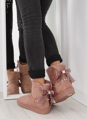 Gefütterte Boots Blogger Schuhe DD60 warme Fell Stiefel Stiefelleten Fell Fake Fur Teddyfell Plüsch BLING BLING Strass Schmuck Silber Nieten Schleife Satin mollig warm Größe 38 39 40 41