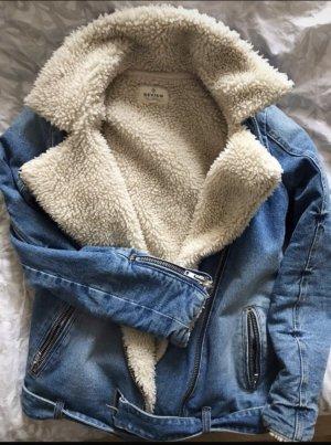 Review Veste en jean blanc cassé-bleu acier