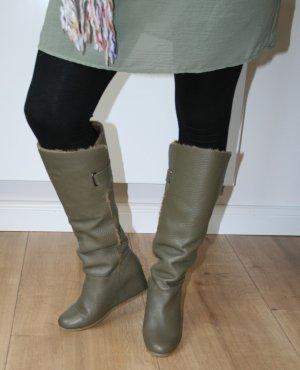 Gefütterte Keilabsatz-Stiefel