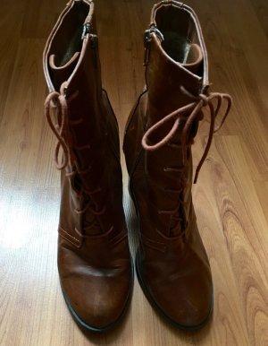 H&M Bottines à lacets brun faux cuir