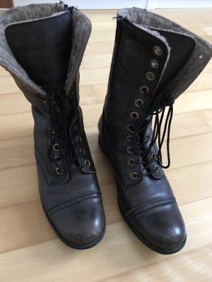 Nobrand Aanrijg laarzen zwart-grijs-bruin