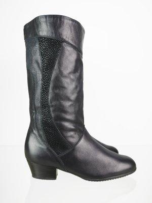 Gefütterte Vintage Leder Winter Stiefel in Schwarz 39,5