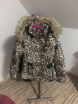 Gefütterte Winterjacke Mit Leopardenmuster & XL Fell Kapuze Daunenjacke Trend17