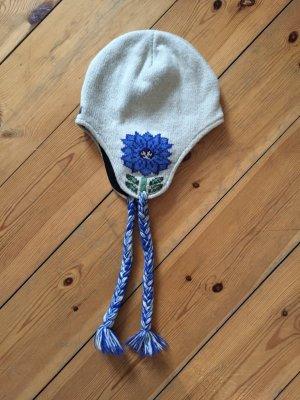 Gefütterte Wollmütze mit Blumenprint