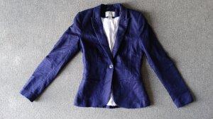 H&M Veste de smoking bleu foncé-blanc tissu mixte