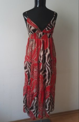 Gefüttertes Sommerkleid Trägerkleid Maxikleid Kleid in Leo Rot/Braun Gr.36-38