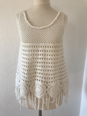 Zara Trafaluc Crochet Top natural white