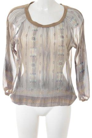 Geisha Langarm-Bluse Allover-Druck Transparenz-Optik