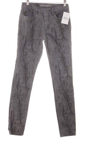 Geisha Pantalón de tubo gris-marrón grisáceo estampado con diseño abstracto