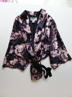 Geisha Trend Style Kimono Jacke Kirschblüten Schwarz Rosa