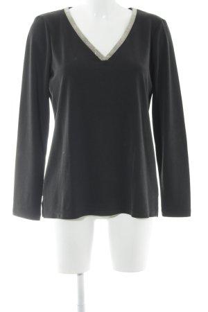 Geisha V-Ausschnitt-Pullover schwarz-goldfarben Casual-Look