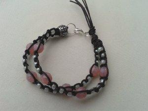 Geknüpftes Armband Mikrama dunkelbraun perlmutt altrosa Perlen, handgemacht