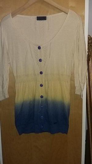 Gelb,blaue Strickjacke in Batikoptik